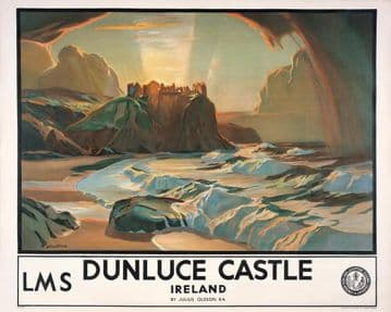 Dunluce Castle, County Antrim, Northern Ireland. Vintage LMS Travel poster by Julius Olsson. 1924