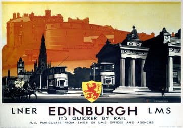 Edinburgh Castle. LNER/LMS Vintage Travel Poster 1923-1947