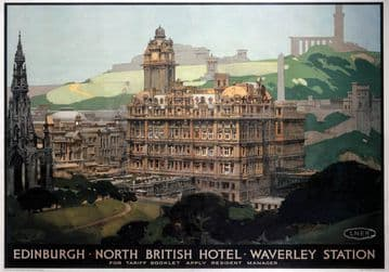 Edinburgh, North British Hotel, Waverley Station. LNER Vintage Travel Poster by Fred Taylor