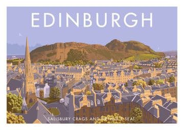Edinburgh, Salisbury Crags and Arthur's Seat Scotland Vintage inspired Scottish Travel Poster