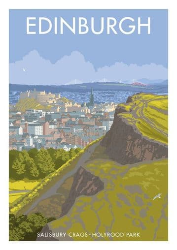 Edinburgh, Salisbury Crags and Arthur's Seat Scotland Vintage inspired Scottish Travel Poster.