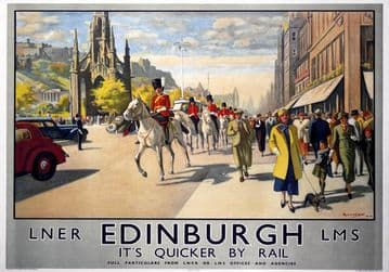 Edinburgh & The Royal Scots Greys. LNER Vintage Travel Poster print by Michael. 1934