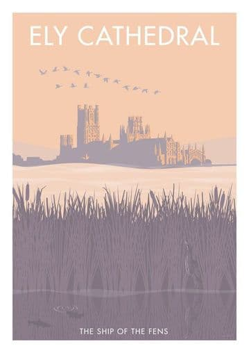 Ely Cathedral, Cambridgeshire, England.  Vintage inspired Travel Poster Stephen Millership