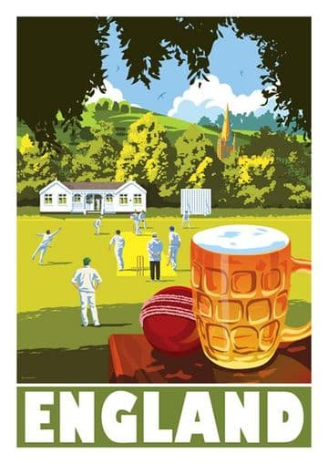 England,  Cricket and Beer Vintage inspired poster by Stephen Millership