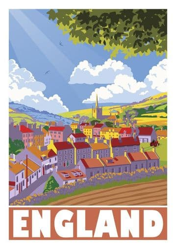 England,  United Kingdom Vintage inspired poster.  English Village by Stephen Millership