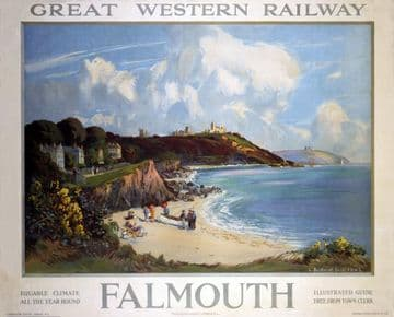 Falmouth, Cornwall. Vintage Great Western Railway Travel poster by L Burleigh Bruhl