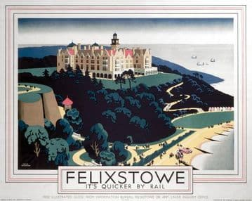 Felixstowe England.  English Railway Travel Poster Print by London & North Eastern Railway.