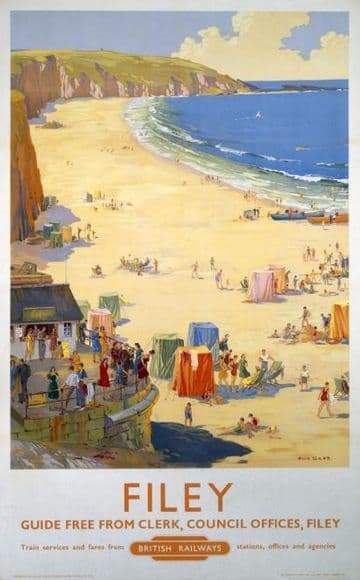 Filey, Yorkshire. Vintage British Railway Travel poster by Ellis Silas.