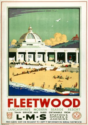 Fleetwood, Lancashire. Vintage LMS Travel Poster by J H Blakeley