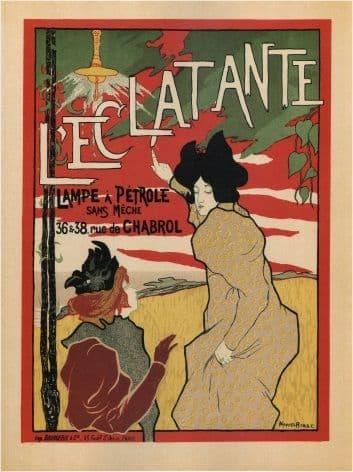 French advertising poster - ADVERT L'ECLATANTE WICKLESS OIL LAMP