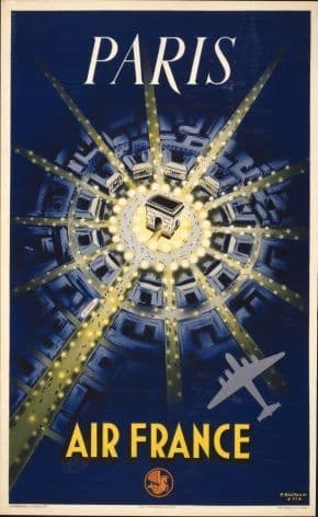 French poster - Paris, Air France 1947