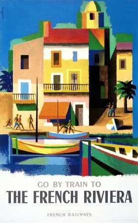 French Riviera, Railway, Train, Travel poster, France, The Côte d'Azur