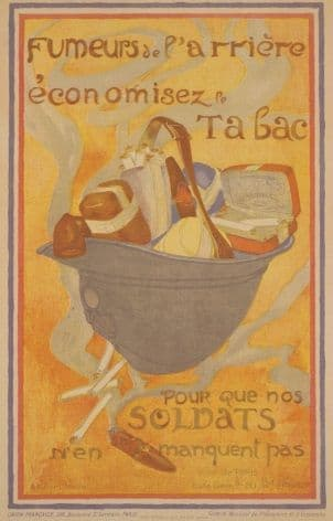 French WW1 poster - Save tobacco for our soldiers!
