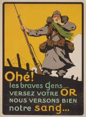 French WW1 propaganda poster - deposit your gold