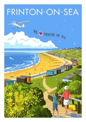 Frinton-On-Sea, Seafront and Beach Essex, England. Vintage inspired Travel Poster Stephen Millership