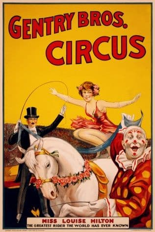Gentry Bros Circus ~ Vintage Circus Poster