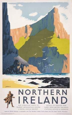Giants Causeway, Northern Ireland Vintage Travel Poster Print by Lander.