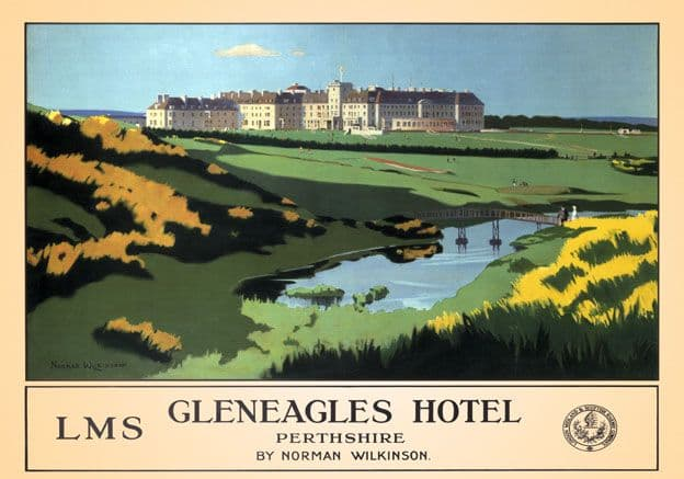 Gleneagles Hotel, Perthshire. LMS Vintage Travel Poster by Norman Wilkinson, 1924-1947