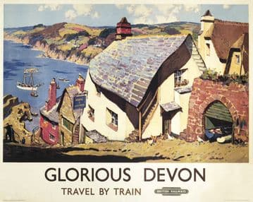 Glorious Devon, Clovelly. Vintage British Railways Travel Poster by Gyrth Russell