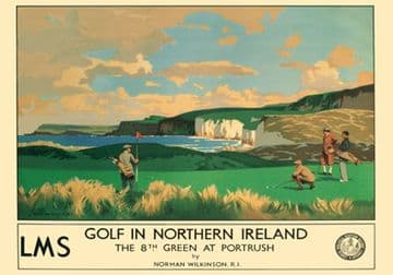 Golf at Royal Portrush, Co Antrim, Northern Ireland. Vintage LMS Irish Travel poster by Norman Wilkinson