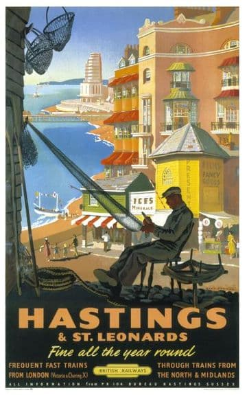 Hastings & St Leonards, Sussex. British Railways Vintage Travel Poster Print