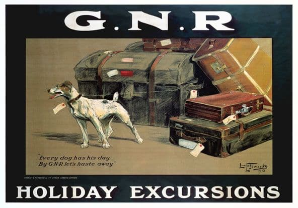Holiday Excursions, Every Dog Has His Day. Vintage GNR Travel poster by Lionel D Edwards. 1913