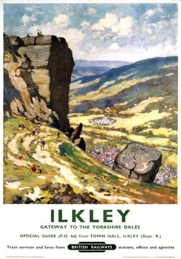 Ilkley, Yorkshire. Vintage British Railway Travel poster. 1960