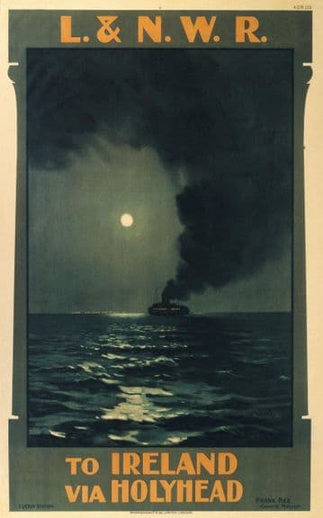 Irish Art Travel Shipping Poster, Ireland via Holyhead Ferry