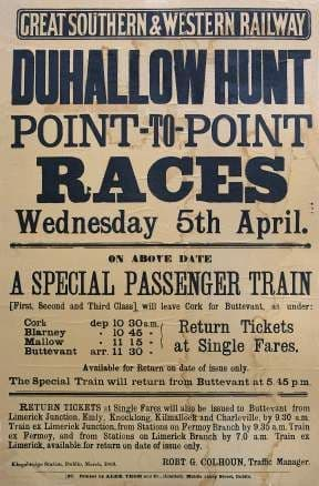 Irish Horse Racing Railway Timetable Poster, Dunhallow Hunt, Ireland
