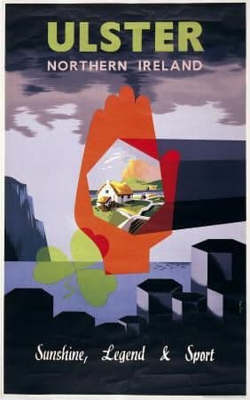 Irish Travel Art Poster, Red Hand of Ulster, Northern Ireland, Shamrock and Giants Causeway