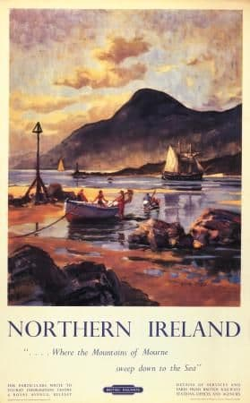 Irish Travel Poster, Carlingford Lough, Mourne Mountains, Northern Ireland