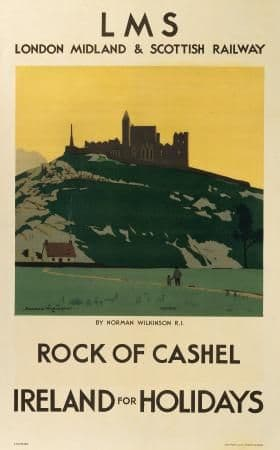 Irish Travel Railway Art Poster, Rock of Cashel, Ireland