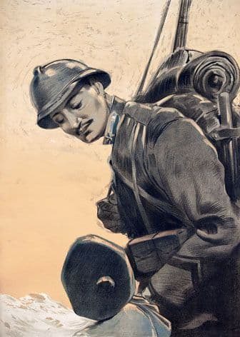 Italian First World War soldier looking down at his son while wearing uniform