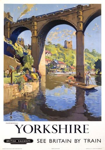 Knaresborough, River Nidd, Yorkshire. Vintage BR Travel poster by Jack Merriott. 1954