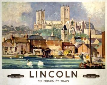 Lincoln Cathedral, England, British Railways  Vintage Travel Poster, See Britain by Train