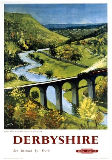 Monsal Dale, Derbyshire. British Railways (LMR) Vintage Travel Poster by Peter Collins
