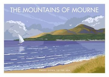 Mourne Mountains,  Murlough Bay, County Down, Ireland. Northern  Irish Vintage Inspired Poster