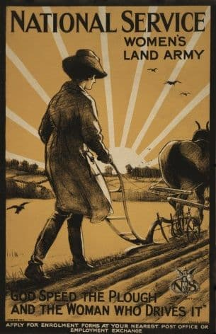 "National Service Women's Land Army. ""God speed the plough and the woman who drives it"" Vintage WW1 Poster."