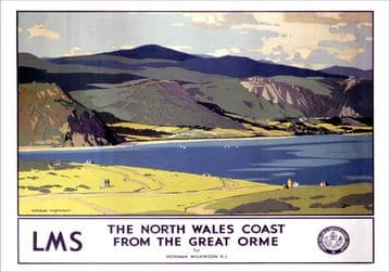 North Wales Coast from the Great Orme, Llandudno. LMS Vintage Travel Poster by Norman Wilkinson