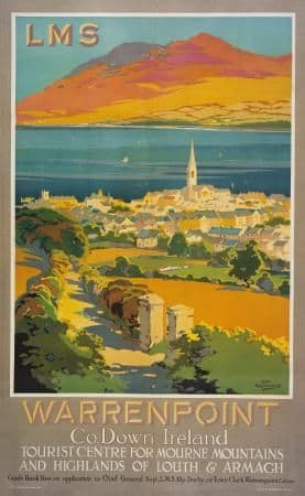 Northern Irish Art Poster Warrenpoint & Louth Ireland by LMS