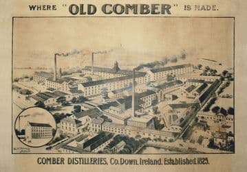 Old Comber Distillery, Co Down, Northern Ireland. Established 1825. Vintage Advert Poster