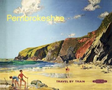 Pembrokeshire, Wales, Vintage Travel Railway Poster Print by British Railways Western Region