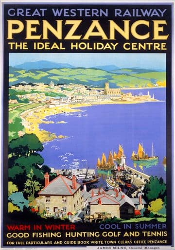 Penzance, The Ideal Holiday Centre, Cornwall. GWR Vintage Travel Poster by SC Rowles. 1927