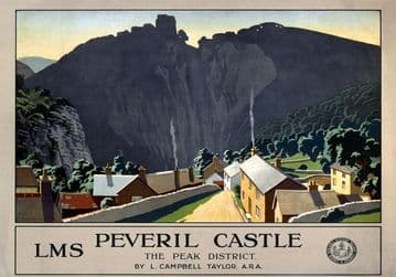 Peveril Castle, The Peak District, Derbyshire. Vintage LMS poster by LC Taylor. 1924
