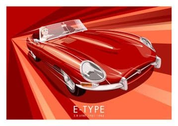 Red E Type Jaguar (Jag) 3.8 Litre 1961- 1964 Vintage Inspired car poster by Stephen Millership