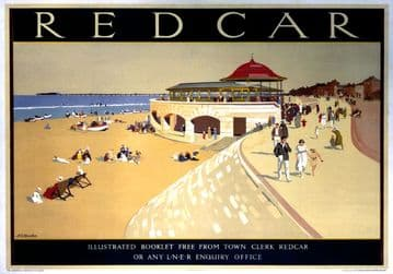 Redcar, Yorkshire. LNER Vintage Travel Poster by A E Martin