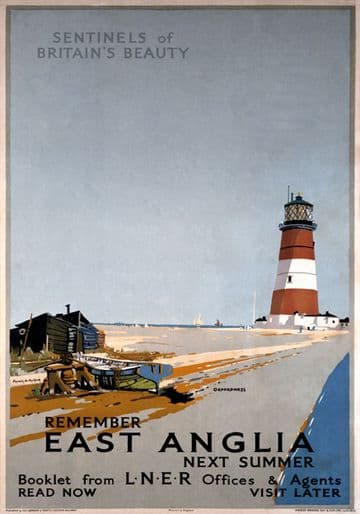Remember East Anglia Next Summer, Orfordness Lighthouse, Suffolk. Vintage LNER Travel poster by Frank H Mason