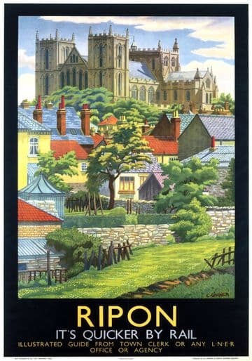 Ripon Cathedral, Yorkshire. Vintage LNER Travel poster by Charles Ginner. c1930