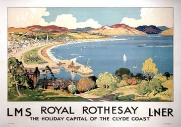 Royal Rothesay, Clyde Coast, Scottish Vintage Railway Travel Poster Print by LMS and LNER