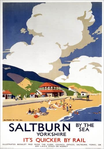 Saltburn by the sea, Yorkshire. LNER Vintage Travel Poster by Frank Newbould
